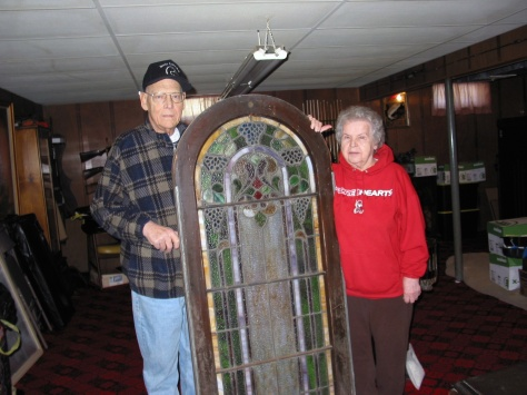 David and Mary Hanneman pose with one window section on March 22, 2007.