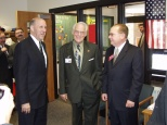 Mayor Hanneman with Gov. Jim Doyle (left) and Rep. Tom Hebl at a Sun Prairie schools event. (Sun Prairie Star Photo)