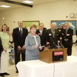 Mayor Hanneman (second to right of podium) at a Sun Prairie schools event. (Sun Prairie Star Photo)