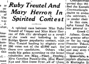 Ruby Treutel was in the thick of it at the beginning, but eventually fell behind in voting.