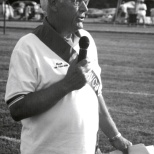 Hanneman acting as emcee at the American Cancer Society Relay for Life. (Sun Prairie Star Photo)