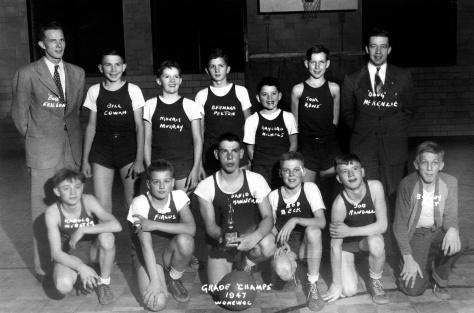 The Mauston 8th grade boys basketball team won the 1947 Wonewoc tournament.
