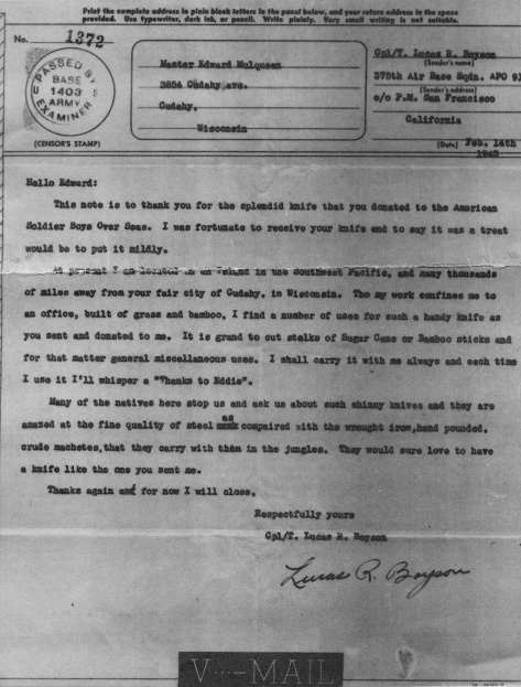 U.S. Army Air Force Cpl. Lucas R. Boyson wrote to thank Eddie Mulqueen for the donated knife in February 1943.