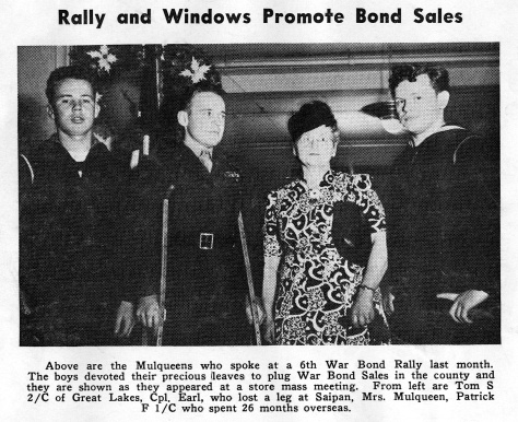 The Mulqueen brothers even appeared at war bond rallies with their mother, Margaret Mulqueen, who was active in the Marine Corps League.