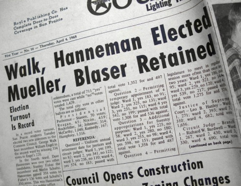 The Sun Prairie Star Countryman carried news of Hanneman's election as alderman in 1968.
