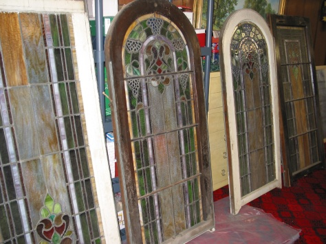 The chapel window sections as they looked in 2007 in the Hanneman basement.