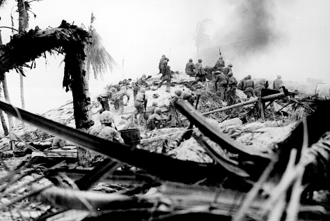 U.S. Marines storm Tarawa, Gilbert Islands, November 1943. (National Archives Photo)