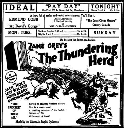 "Now known as Mrs. Carl Hanneman, Ruby sang before the showing of Zane Grey's ""The Thundering Herd."""