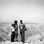 Ruby V. Hanneman with children Lavonne and David at the Black Hills of South Dakota, circa 1947.