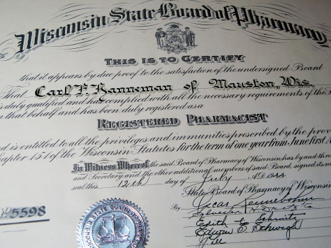 Carl F. Hanneman's registered pharmacist license, issued in July 1944.