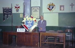 Carl F. Hanneman handmade the K of C logo for Solomon Juneau Council 2770 in Mauston, Wis.