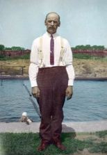 Hand tinted photograph of Chas Hanneman, location unknown.