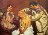 Twinship of the health professions, Pharmacy and Medicine, is nowhere more strikingly portrayed than by Damian, the apothecary, and Cosmas, the physician. Twin brothers of Arabian descent, and devout Christians, they offered the solace of religion as well as the benefit of their knowledge to the sick who visited them. Their twin careers were cut short in the year 303 by martyrdom. For centuries their tomb in the Syrian city of Cyprus was a shrine. Churches were built in their honor in Rome and other cities. After canonization, they became the patron saints of Pharmacy and Medicine, and many miracles were attributed to them.