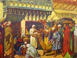 The Arabs separated the arts of apothecary and physician, establishing in Bagdad late in the eighth century the first privately owned drug stores. They preserved much of the Greco-Roman wisdom, added to it, developing with the aid of their natural resources syrups, confections, conserves, distilled waters and alcoholic liquids. The apothecary is examining logs of sandalwood offered by a traveling merchant, while children indulge their taste for sweets with stalks of sugar cane. When the Moslems swept across Africa, Spain and southern France, they carried with them a new pattern of Pharmacy which western Europe soon assimilated.