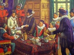 "Trade in drugs and spices was lucrative in the Middle Ages. In the British Isles, it was monopolized by the Guild of Grocers, which had jurisdiction over the apothecaries. After years of effort, the apothecaries found allies among court physicians. King James I, flanked by two ""Beefeaters"" wore heavily padded attire because of fear of stabbing. Upon persuasion by the philosopher-politician, Francis Bacon, the King granted a charter in 1617 which formed a separate company known as the ""Master, Wardens and Society of the Art and Mystery of the Apothecaries of the City of London"" over vigorous protests of the grocers. This was the first organization of pharmacists in the Anglo-Saxon world."