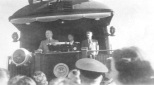 President Harry S Truman speaks to a crowd at Elroy, Wisconsin, during a rail campaign stop in 1948.