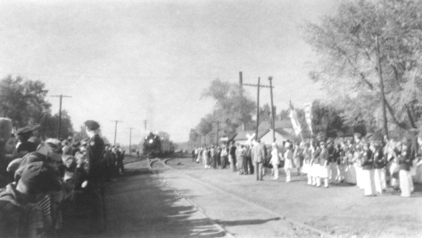 The Harry S Truman express approaches Mauston during campaign season 1948.