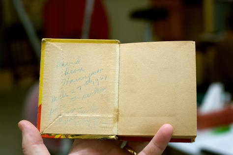 My Grandmother Ruby V. Hanneman wrote an inscription on the inside cover for my Dad's 8th birthday in 1941.