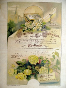 The confirmation certificate for Carl F. Hanneman from the First Moravian Church.