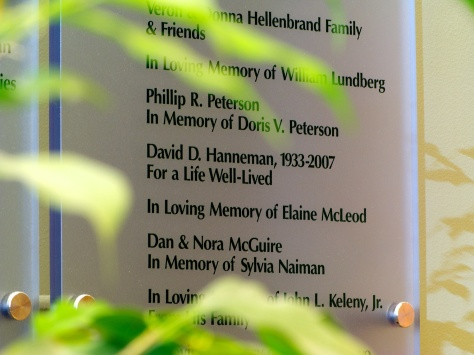 The fountain memorial wall at Agrace HospiceCare in Fitchburg, Wisconsin.