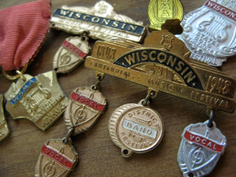 David D. Hanneman's medals from the Wisconsin Centennial Music Festival in 1948.