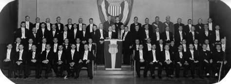 Carl F. Hanneman (left section, second row, second from center aisle), joined the Fourth Degree of the Knights of Columbus in the late 1930s or early 1940s. Exact date of this photo is unknown.