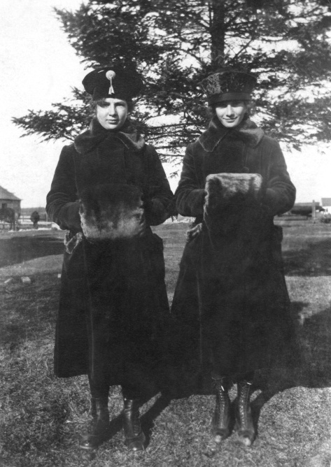 Lillian M. Albrecht and sister Esther M. Albrecht are well-prepared for winter.
