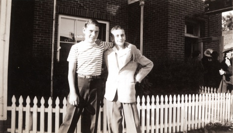 David Hanneman and Sam Kaufman outside the Ortman Clinic in Canistota, S.D., circa 1944.