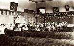 The third grade class of Carl F. Hanneman in Grand Rapids, Wisconsin, circa 1910.