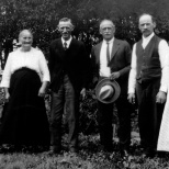 "It is the only known photograph showing six of the seven children of Christian and Amanda Hanneman, pioneers of Portage and Wood counties in Wisconsin. The undated photo was probably taken around 1915 at a family event. Left to right are: William Friedrich Johann Hanneman (1856-1939) Bertha Auguste Ernestine (Hanneman) Bartelt (1860-1945) Albert Friedrich O. Hanneman (1863-1932) Herman Charles Hanneman (1864-1945) Carl Friedrich Christian Hanneman (""Chas,"" 1866-1932) Ernestine Wilhelmine Caroline (Hanneman) Timm (1870-1930)"