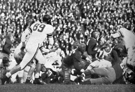 Scatback Jerry Thompson runs for 5 yards against Northwestern on November 10, 1945.