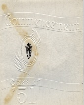 Discoloration from the envelope is evident on the front cover of an invitation to the Mauston High School 1951 graduation ceremony.
