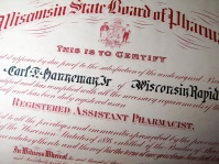 Carl F. Hanneman's 1925 state of Wisconsin license as an assistant pharmacist.