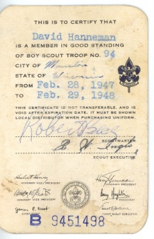 The back side of the Boy Scouts of America membership card of David D. Hanneman of Mauston, Wisconsin.