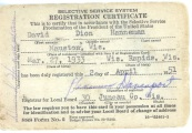 The Selective Service System draft card of David D. Hanneman of Mauston, Wisconsin.