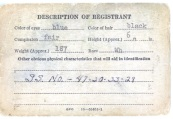Flip side of the Selective Service System draft card of David D. Hanneman of Mauston, Wisconsin.