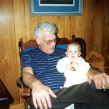 Late Grandpa Dave Hanneman holds Stevie in 1992.
