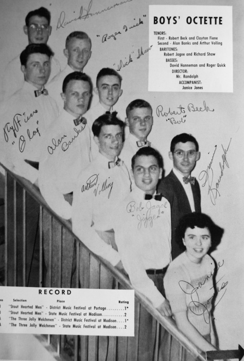 "The ""State Men"" had their own page in the Mauston High School yearbook in 1951."