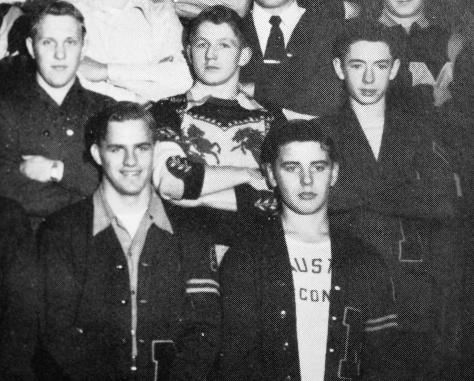 Freeman (at left in first row) pictured with other letter winners in the M Club.