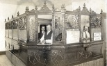 """This photograph from my Grandmother Ruby V. Hanneman shows the interior of the State Bank of Vesper in the village of Vesper, Wisconsin, circa 1912. Scrawled on the back of the photo in pencil is the following notation: """"First Vesper Bank. Jones Cashier, Martin President, Oliver V-P."""""""