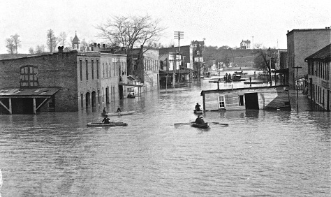 Floodwaters reached more than 12 feet deep in much of the town in April 1898.