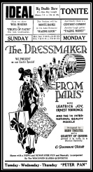 Movie advertisement for 'The Dressmaker from Paris.' The singing of Ruby V. Treutel was billed as an added attraction.