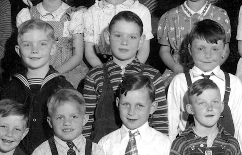 David D. Hanneman (center, in striped shirt) shown six months after his pneumonia scare.