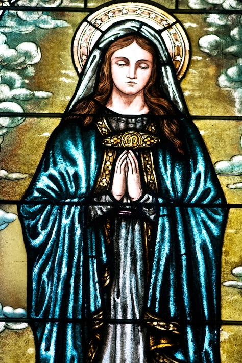The Blessed Virgin Mary, stained glass window art from Sacred Hearts of Jesus and Mary Catholic Church in Sun Prairie, Wisconsin.