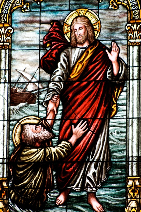 Jesus walking on water, depicted in stained glass at Sacred Hearts of Jesus and Mary Catholic Church in Sun Prairie, Wisconsin.