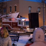 Jimmy was led to Cannery Square by a Sun Prairie Volunteer Fire Department escort.