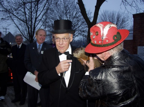 Mayor David D. Hanneman with Jimmy the Groundhog at the February 2005 event. (Sun Prairie Star Photo)