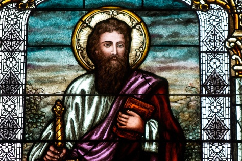 Stained-glass depiction of St. Paul, from Sacred Hearts of Jesus and Mary Catholic Church.