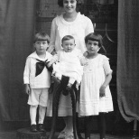 Ruby Treutel (in back) with brother Marvin and sisters Elaine and Nina.