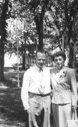 Carl and Ruby Hanneman on their 25th wedding anniversary in July 1950.